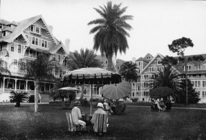 People having tea on the lawn of the Belleview Biltmore Hotel in Belleair, Florida. 192-. Black & white photoprint, 4 x 6 in. State Archives of Florida, Florida Memory. , accessed 11 January 2016.