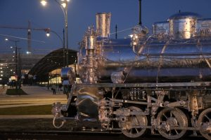 night shot of locomotive